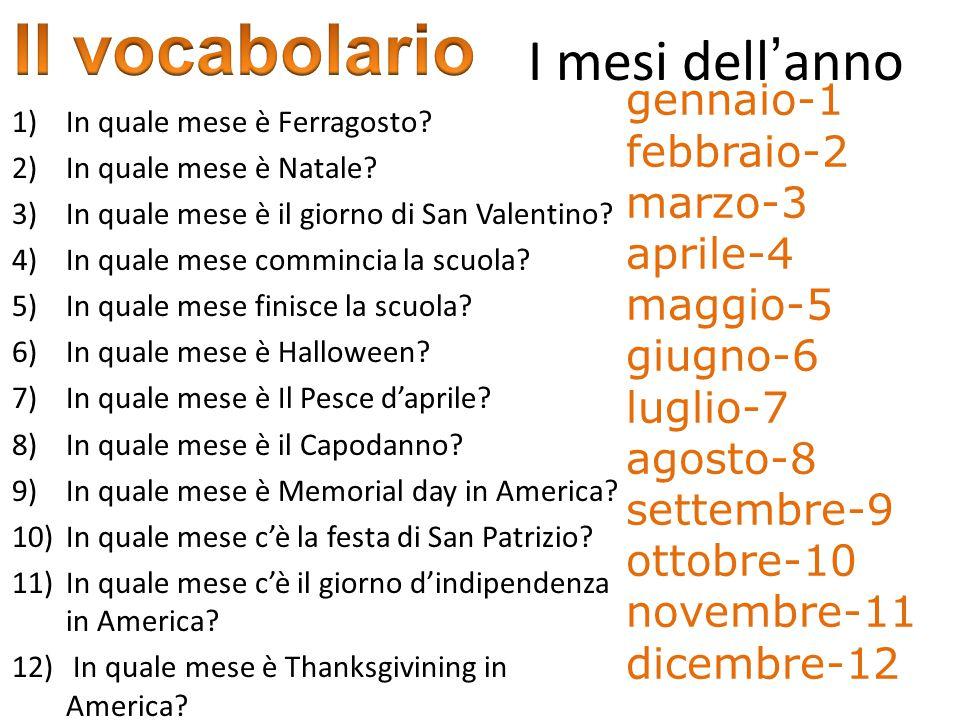 Il vocabolario I mesi dell'anno gennaio-1 febbraio-2 marzo-3 aprile-4