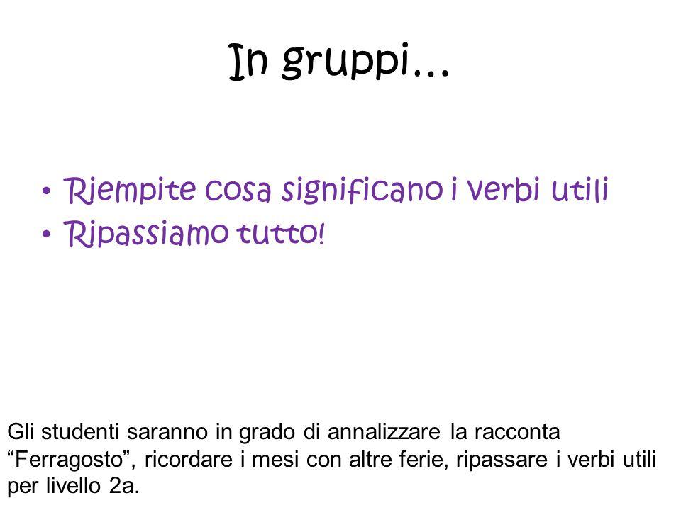 In gruppi… Riempite cosa significano i verbi utili Ripassiamo tutto!