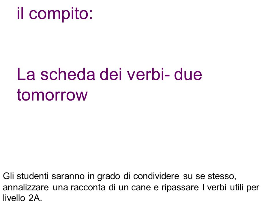 La scheda dei verbi- due tomorrow