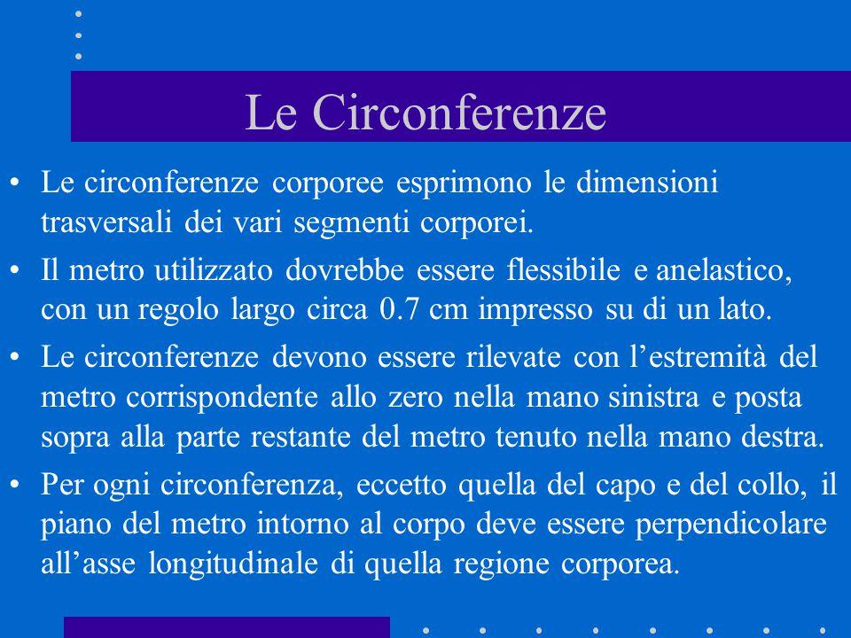 Le Circonferenze Le circonferenze corporee esprimono le dimensioni trasversali dei vari segmenti corporei.