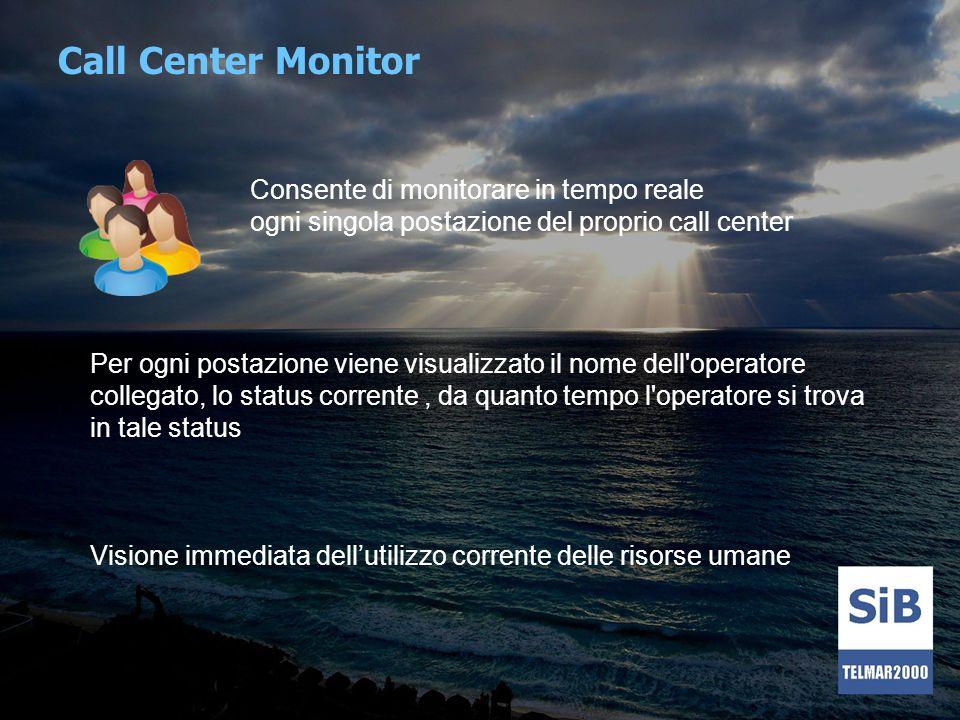 Call Center Monitor Consente di monitorare in tempo reale ogni singola postazione del proprio call center.
