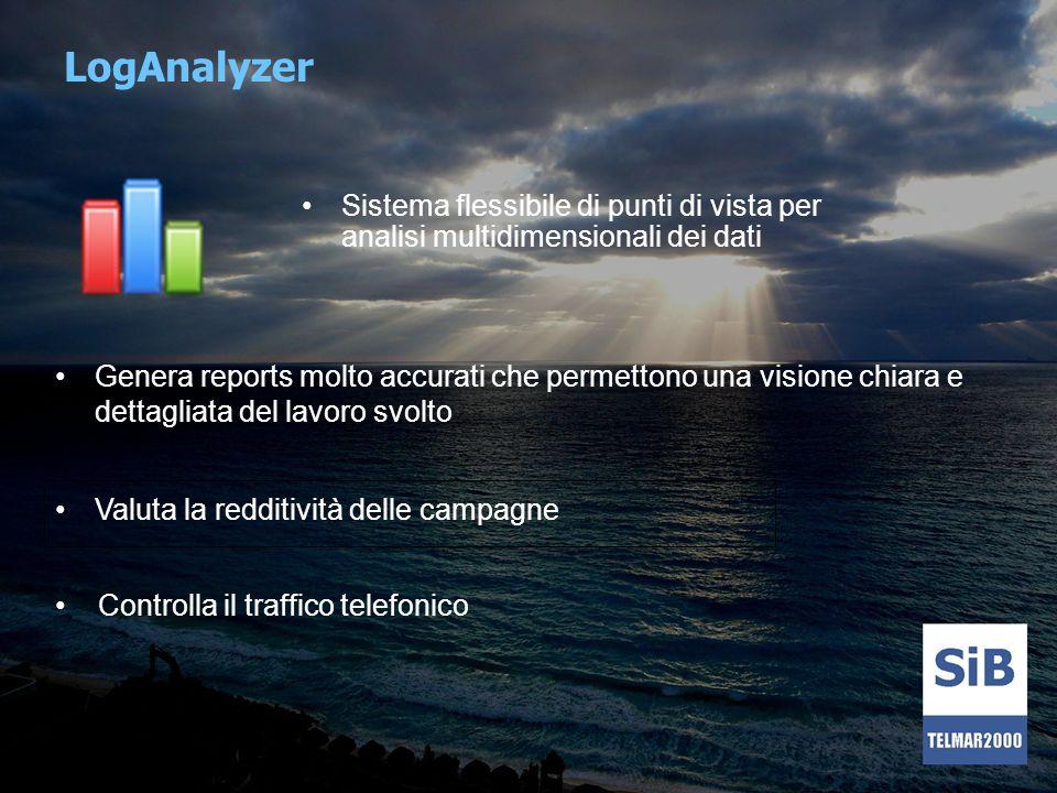 LogAnalyzer Sistema flessibile di punti di vista per analisi multidimensionali dei dati.