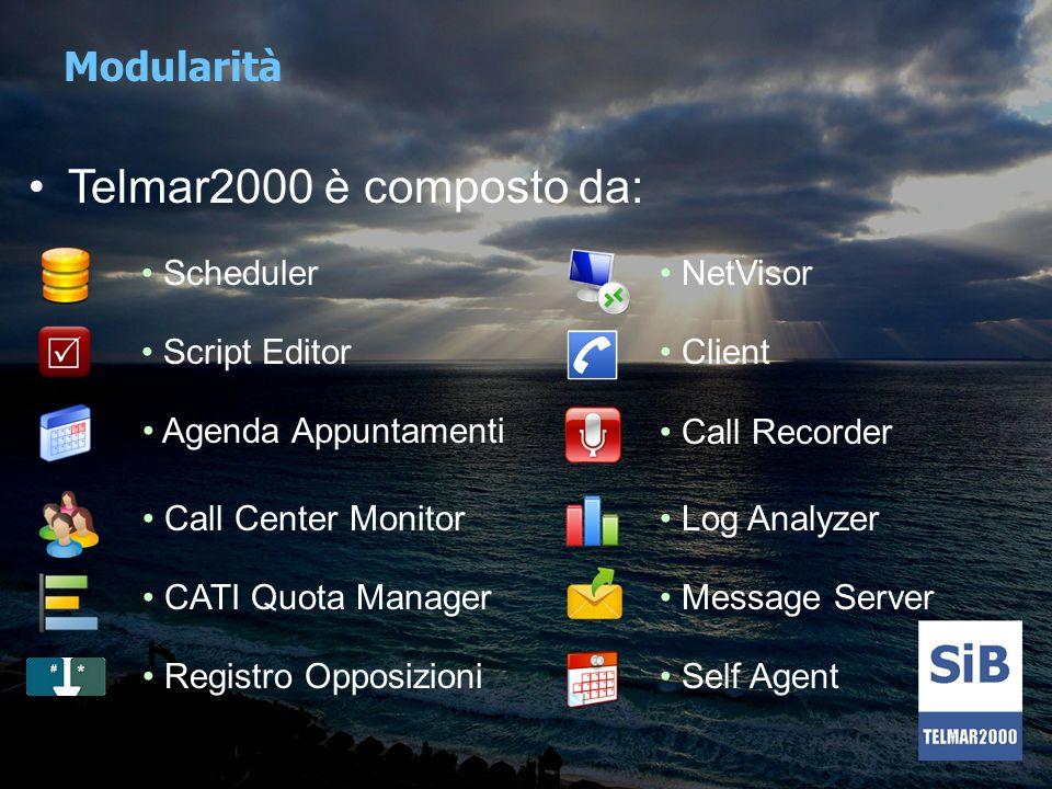 Telmar2000 è composto da: Modularità Scheduler NetVisor Script Editor