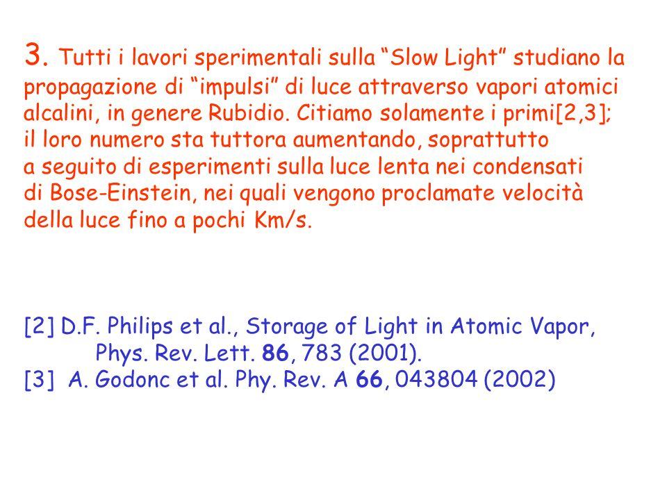 3. Tutti i lavori sperimentali sulla Slow Light studiano la