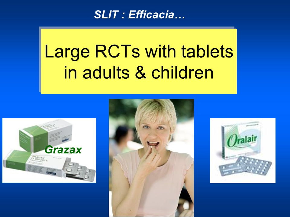 Large RCTs with tablets in adults & children