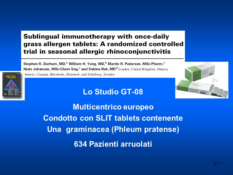 Multicentrico europeo Condotto con SLIT tablets contenente