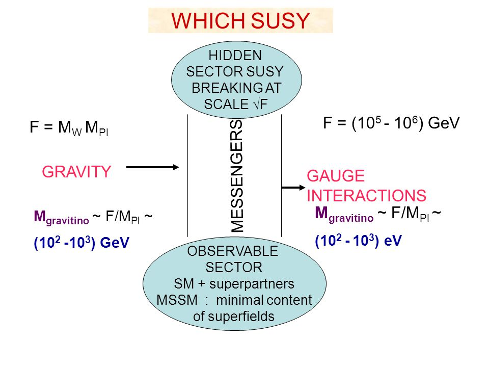 WHICH SUSY F = (105 - 106) GeV F = MW MPl MESSENGERS GRAVITY