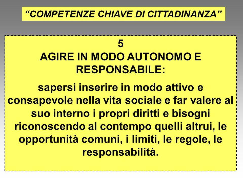 AGIRE IN MODO AUTONOMO E RESPONSABILE:
