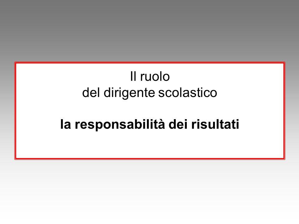 Il ruolo del dirigente scolastico la responsabilità dei risultati