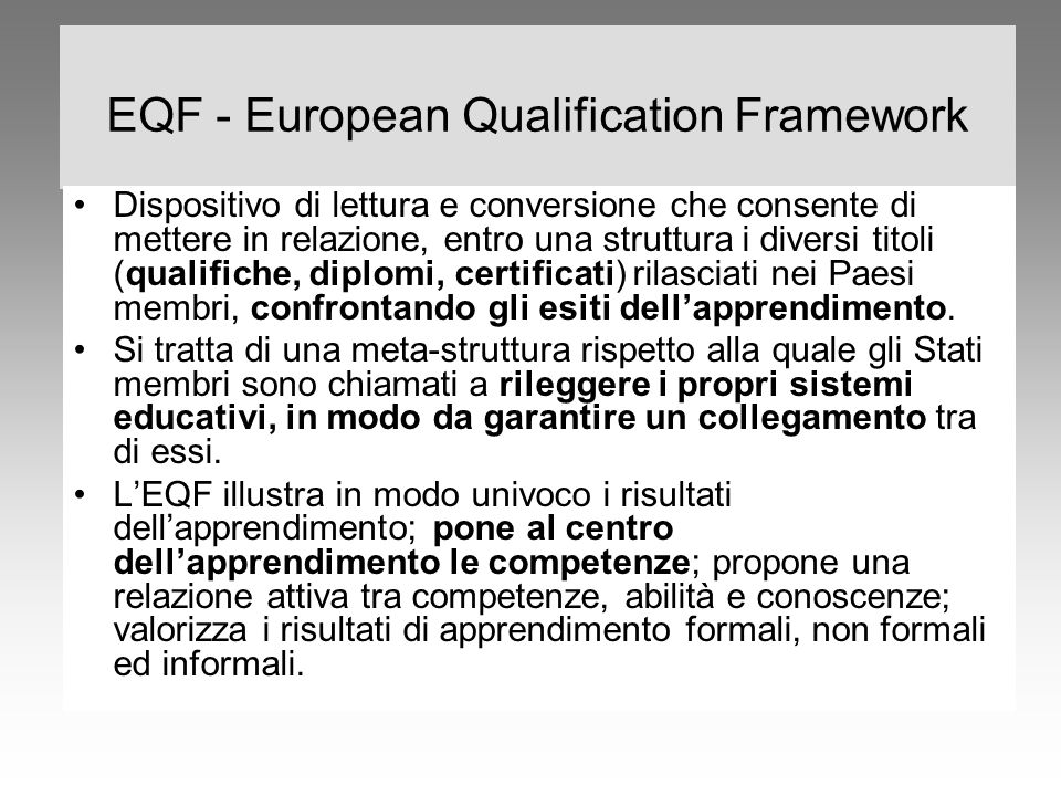 EQF - European Qualification Framework