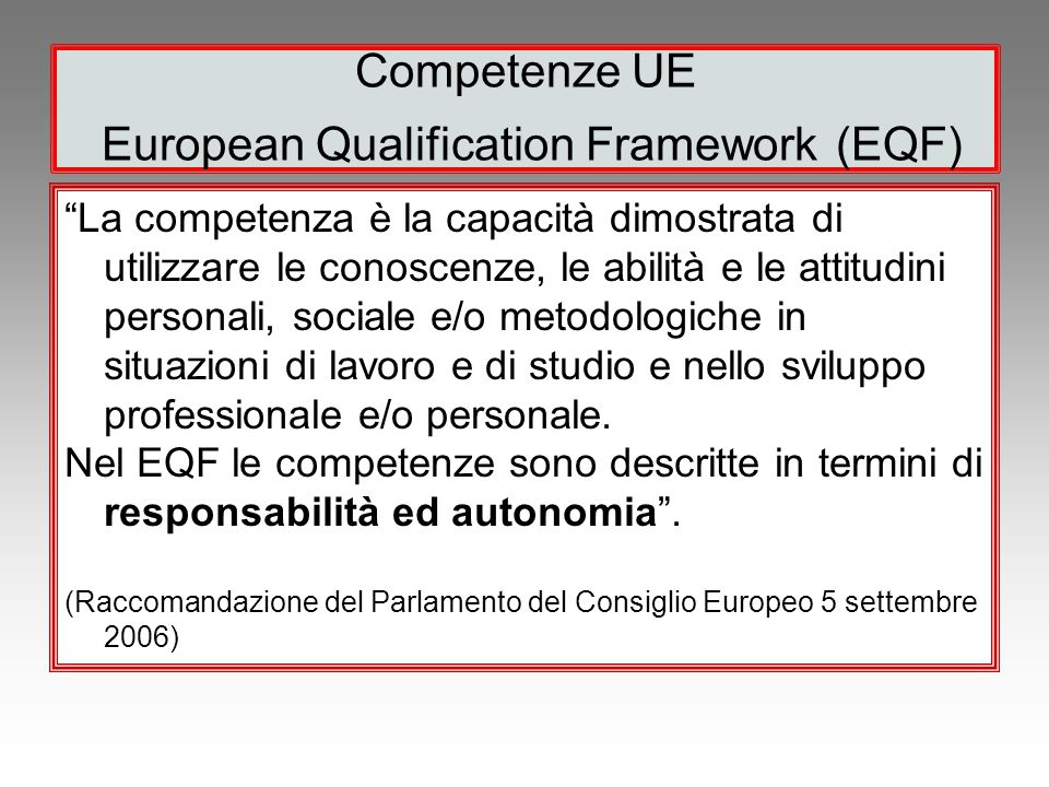 Competenze UE European Qualification Framework (EQF)