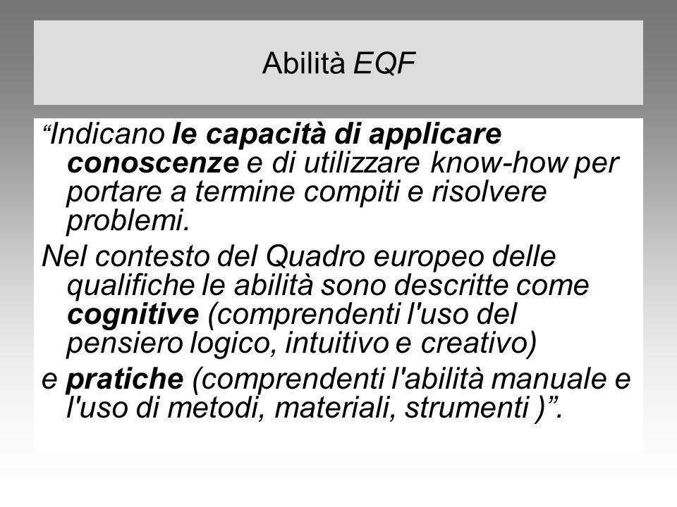 Abilità EQF Indicano le capacità di applicare conoscenze e di utilizzare know-how per portare a termine compiti e risolvere problemi.