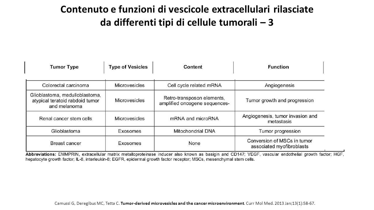 Contenuto e funzioni di vescicole extracellulari rilasciate da differenti tipi di cellule tumorali – 3
