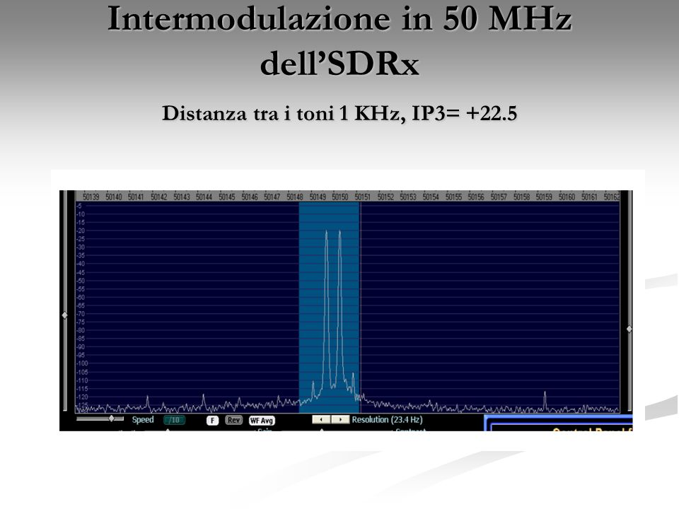 Intermodulazione in 50 MHz dell'SDRx Distanza tra i toni 1 KHz, IP3= +22.5