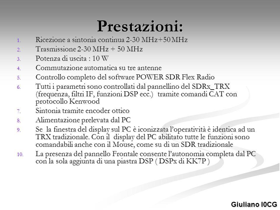 Prestazioni: Ricezione a sintonia continua 2-30 MHz+50 MHz