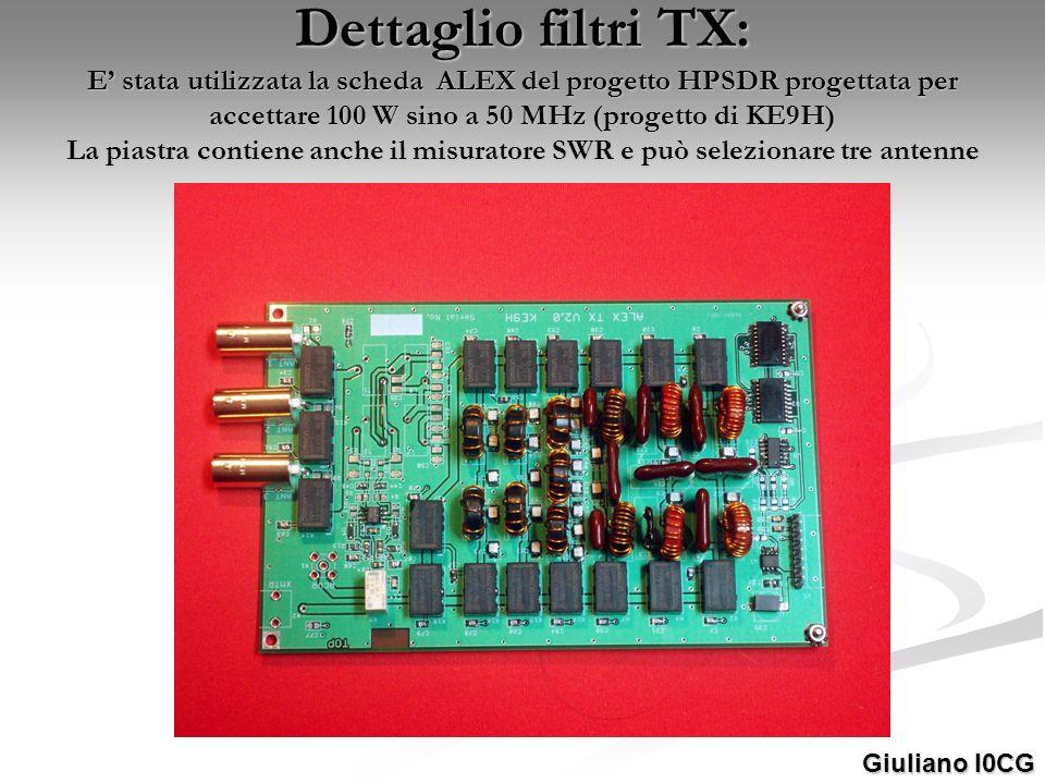 Dettaglio filtri TX: E' stata utilizzata la scheda ALEX del progetto HPSDR progettata per accettare 100 W sino a 50 MHz (progetto di KE9H) La piastra contiene anche il misuratore SWR e può selezionare tre antenne