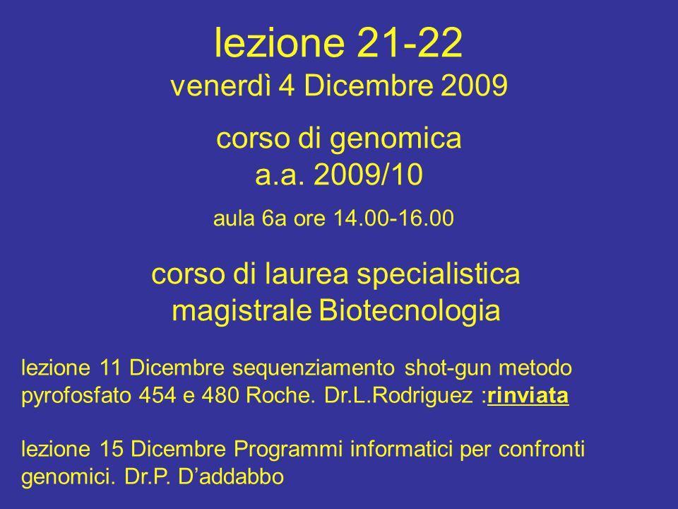 lezione 21-22 venerdì 4 Dicembre 2009