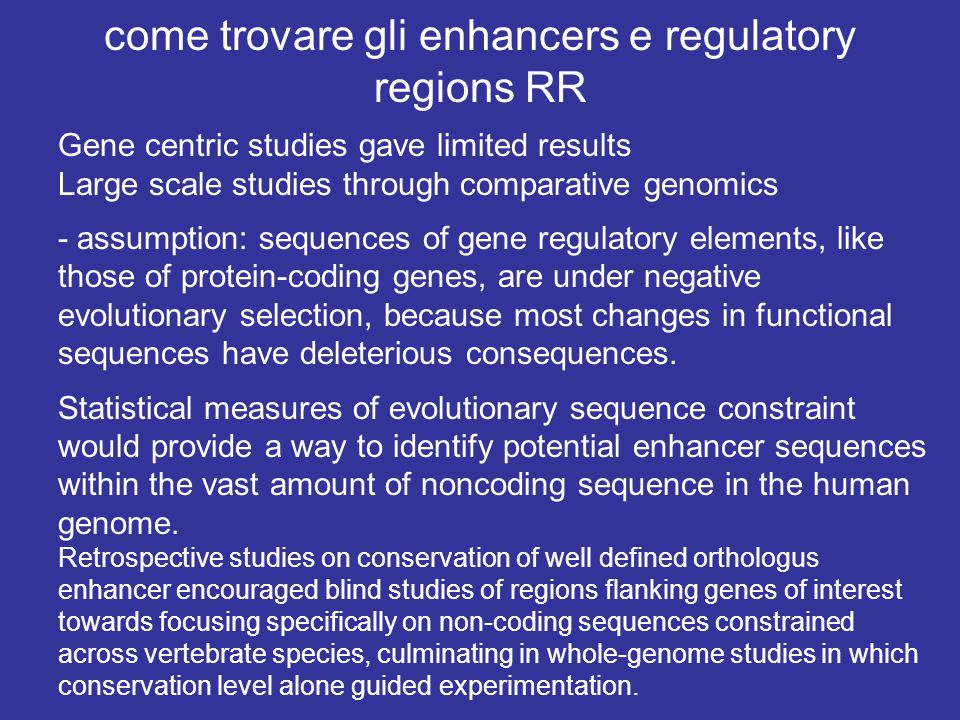 come trovare gli enhancers e regulatory regions RR