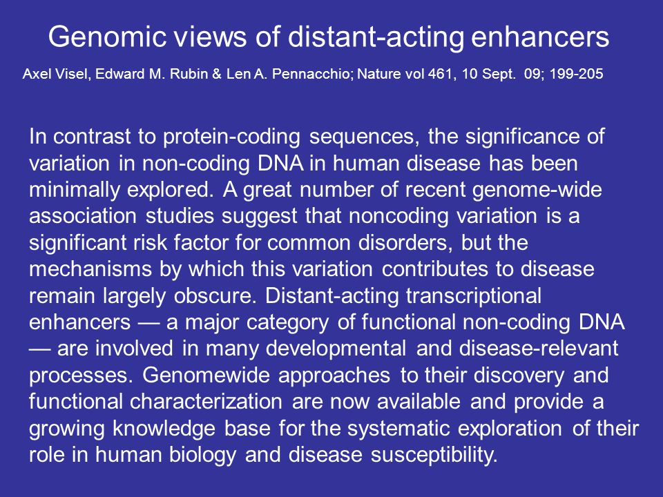 Genomic views of distant-acting enhancers