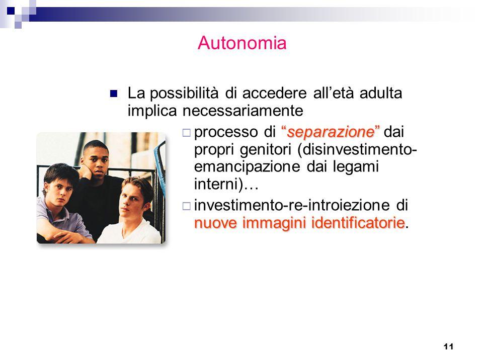 Autonomia La possibilità di accedere all'età adulta implica necessariamente.