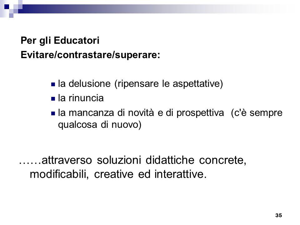 Per gli Educatori Evitare/contrastare/superare: la delusione (ripensare le aspettative) la rinuncia.