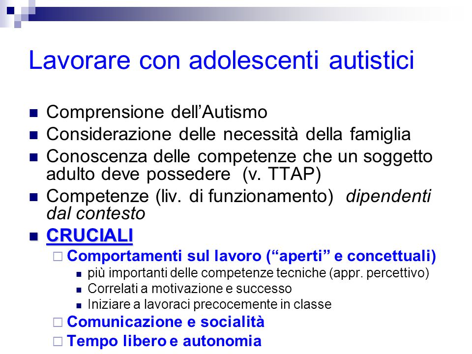 Lavorare con adolescenti autistici