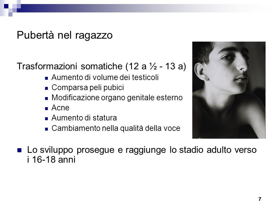 Pubertà nel ragazzo Trasformazioni somatiche (12 a ½ - 13 a)
