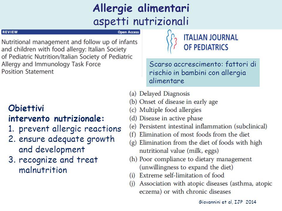 Allergie alimentari aspetti nutrizionali Obiettivi