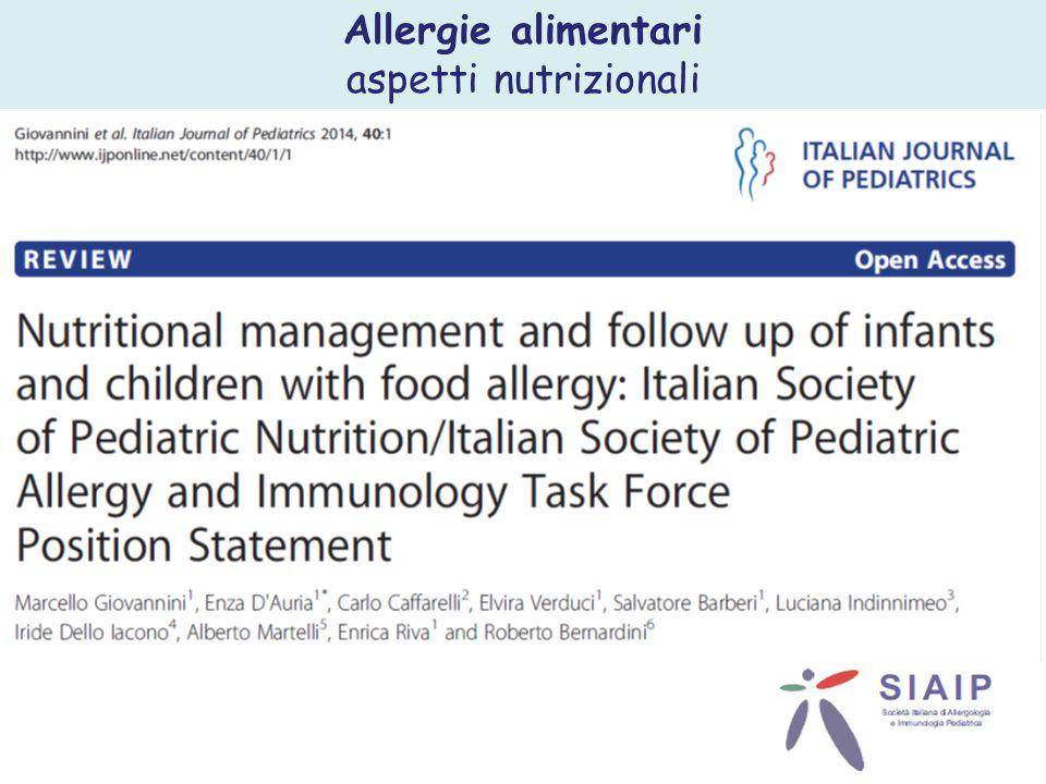 Allergie alimentari aspetti nutrizionali