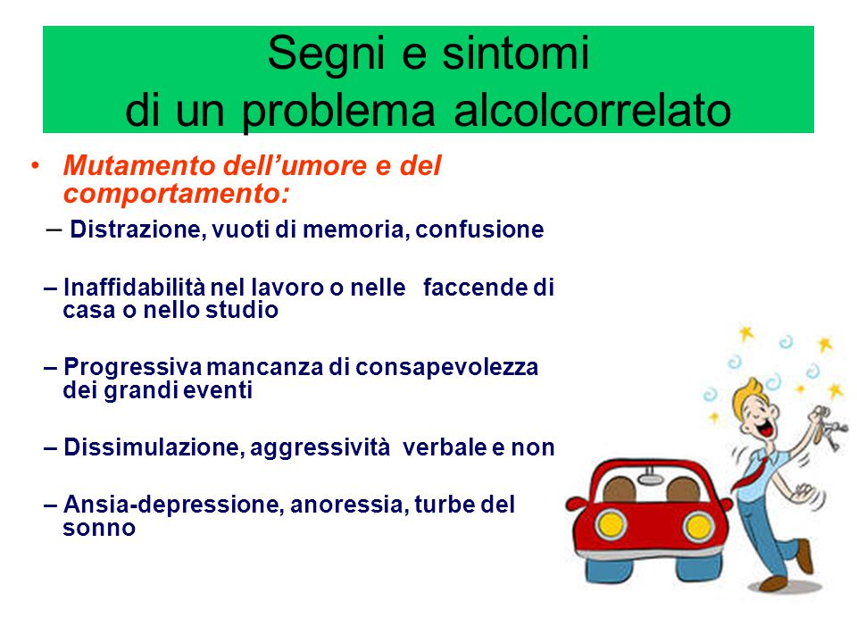 Segni e sintomi di un problema alcolcorrelato