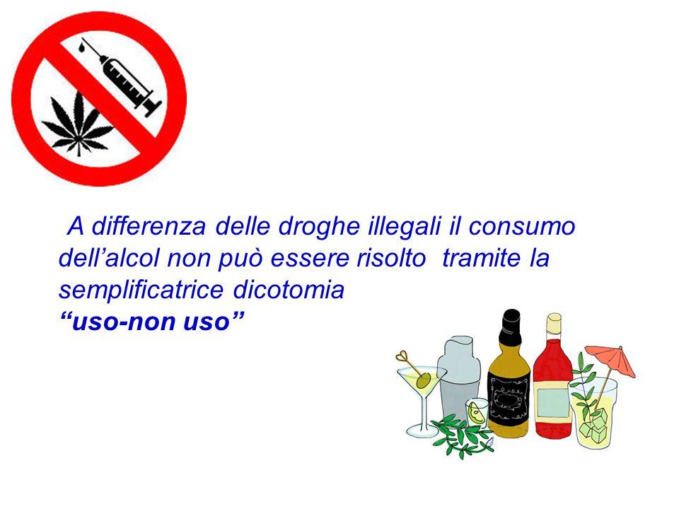 A differenza delle droghe illegali il consumo dell'alcol non può essere risolto tramite la semplificatrice dicotomia