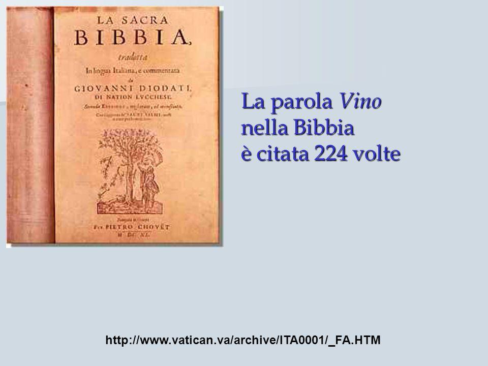 La parola Vino nella Bibbia è citata 224 volte