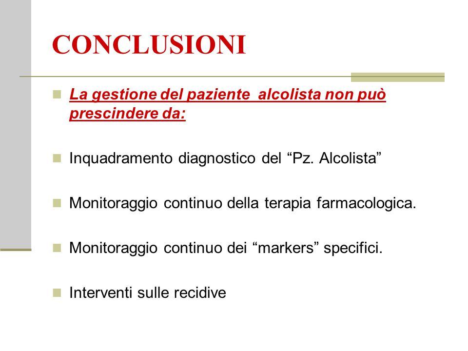 CONCLUSIONI La gestione del paziente alcolista non può prescindere da: