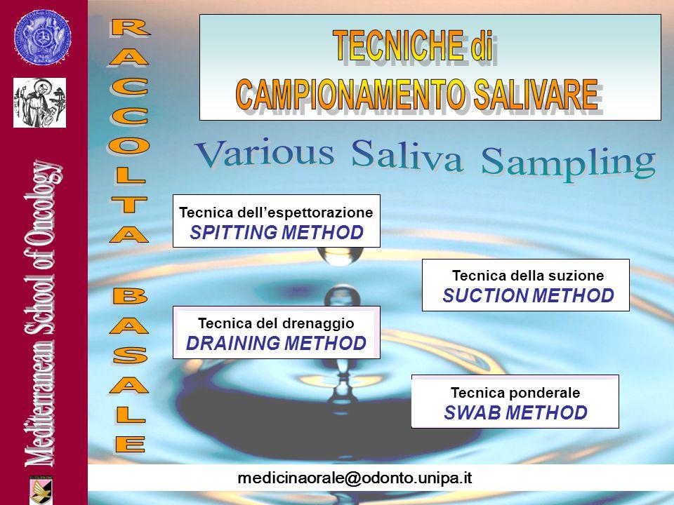 CAMPIONAMENTO SALIVARE Tecnica dell'espettorazione SPITTING METHOD