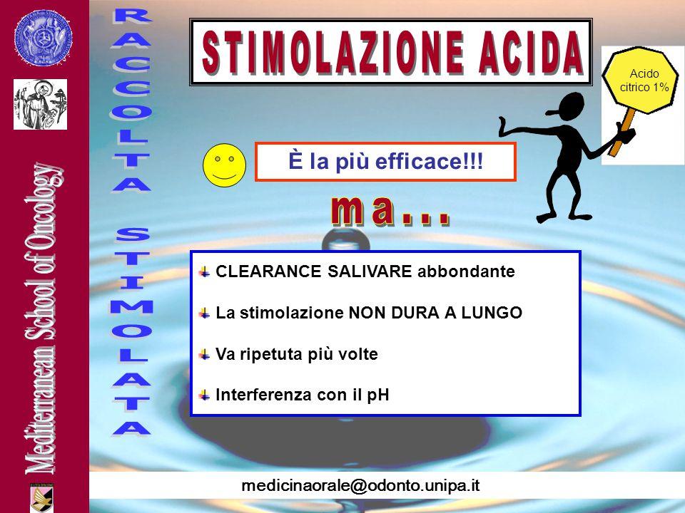 RACCOLTA STIMOLATA ma... STIMOLAZIONE ACIDA È la più efficace!!!