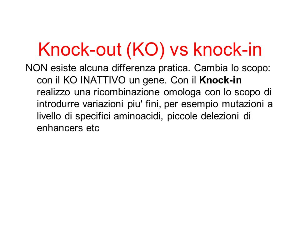 Knock-out (KO) vs knock-in