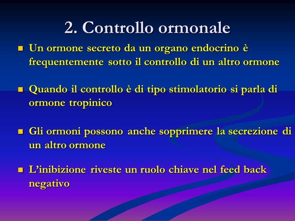 2. Controllo ormonale Un ormone secreto da un organo endocrino è frequentemente sotto il controllo di un altro ormone.