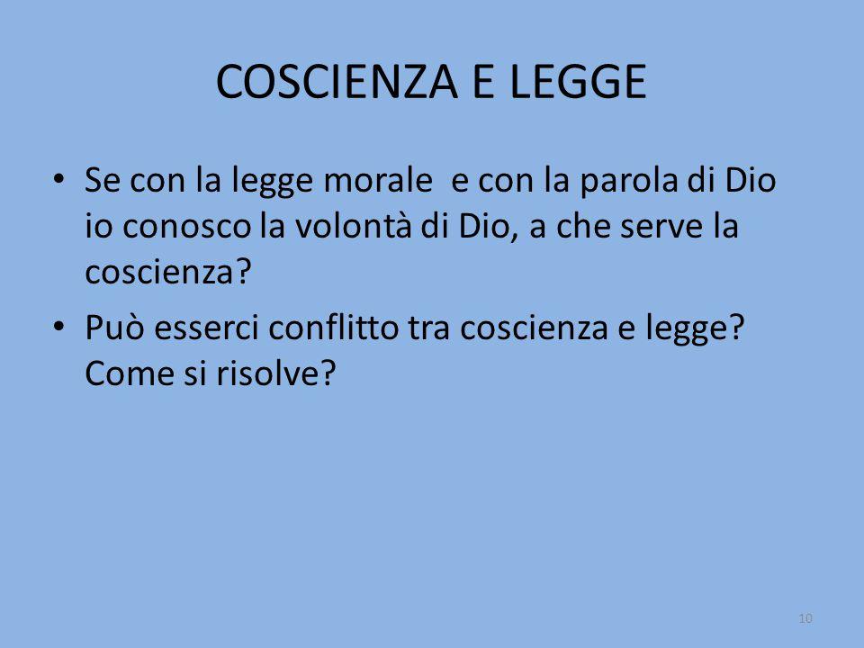 COSCIENZA E LEGGE Se con la legge morale e con la parola di Dio io conosco la volontà di Dio, a che serve la coscienza