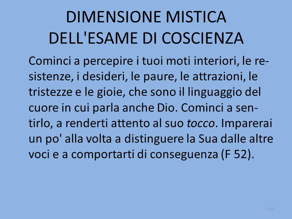 DIMENSIONE MISTICA DELL ESAME DI COSCIENZA