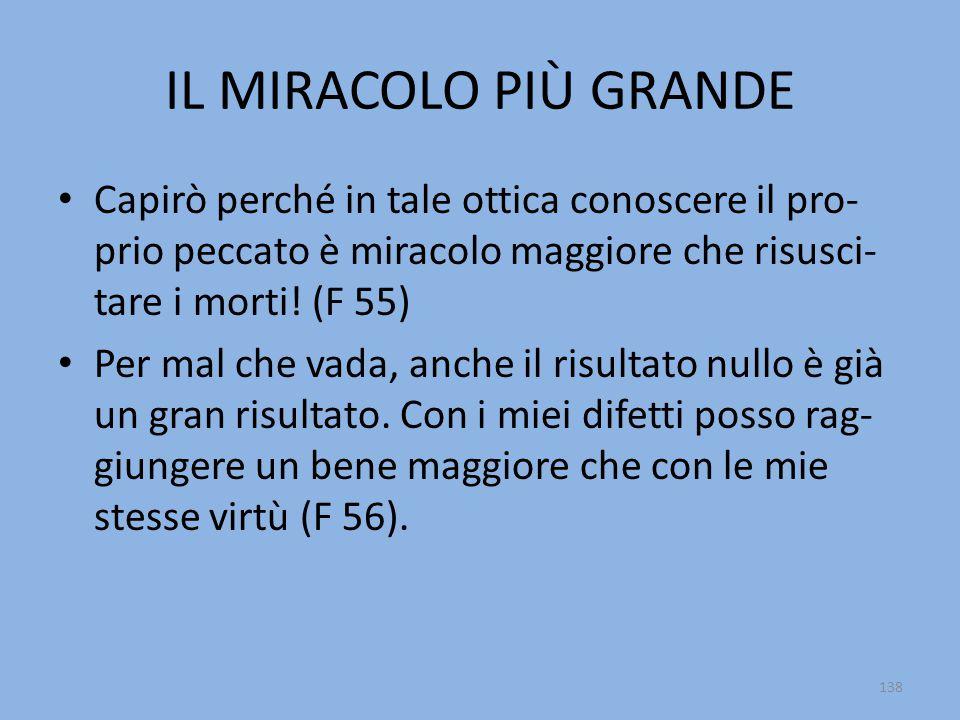 IL MIRACOLO PIÙ GRANDE Capirò perché in tale ottica conoscere il pro-prio peccato è miracolo maggiore che risusci-tare i morti! (F 55)