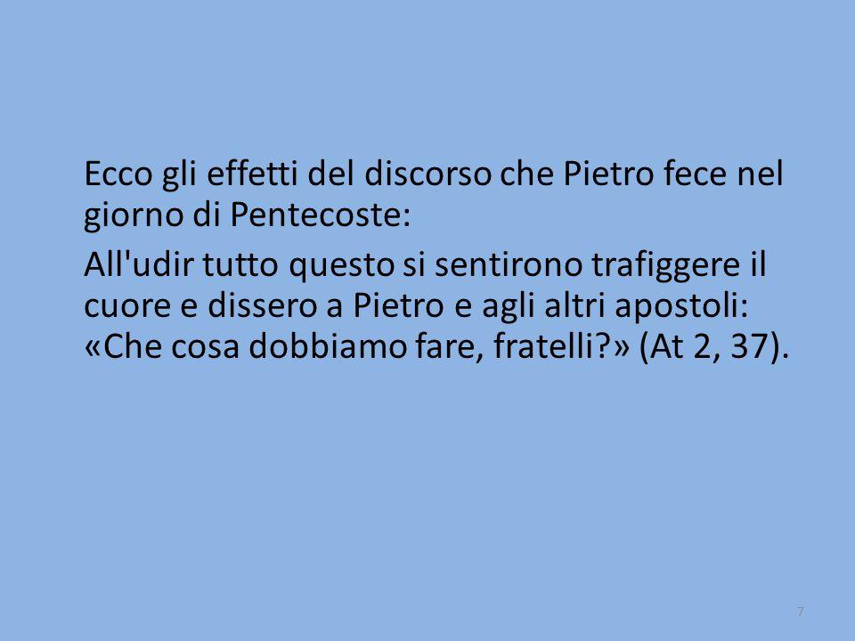 Ecco gli effetti del discorso che Pietro fece nel giorno di Pentecoste: