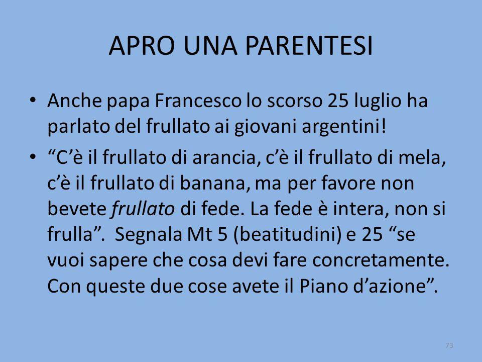 APRO UNA PARENTESI Anche papa Francesco lo scorso 25 luglio ha parlato del frullato ai giovani argentini!