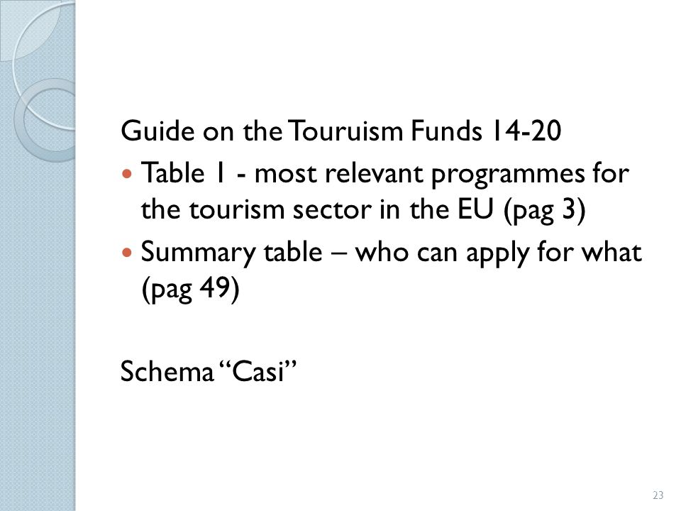 Guide on the Touruism Funds 14-20