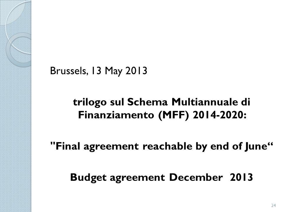 trilogo sul Schema Multiannuale di Finanziamento (MFF) 2014-2020:
