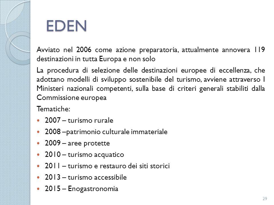 EDEN Avviato nel 2006 come azione preparatoria, attualmente annovera 119 destinazioni in tutta Europa e non solo.