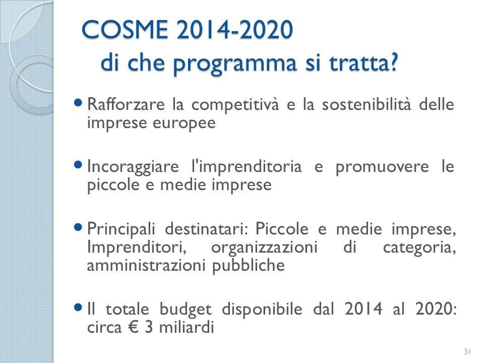 COSME 2014-2020 di che programma si tratta