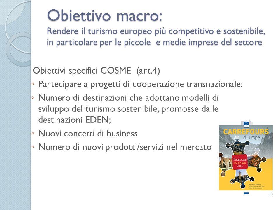 Obiettivo macro: Rendere il turismo europeo più competitivo e sostenibile, in particolare per le piccole e medie imprese del settore