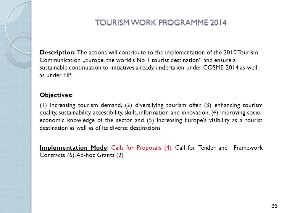 TOURISM WORK PROGRAMME 2014
