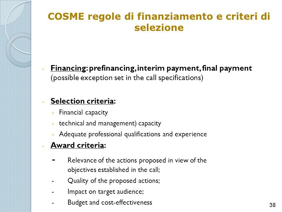 COSME regole di finanziamento e criteri di selezione