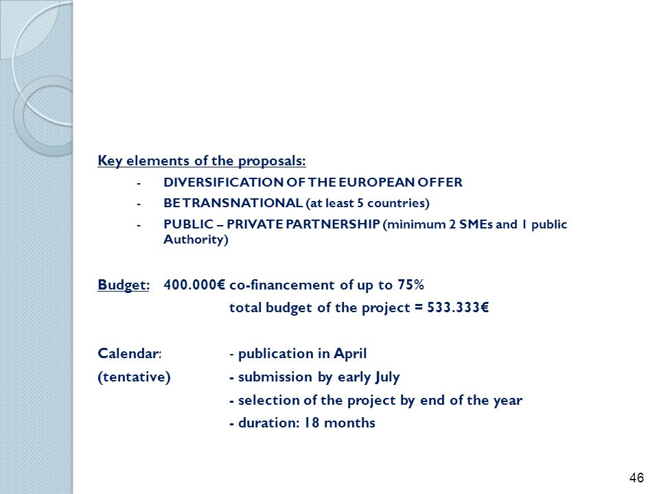Key elements of the proposals: